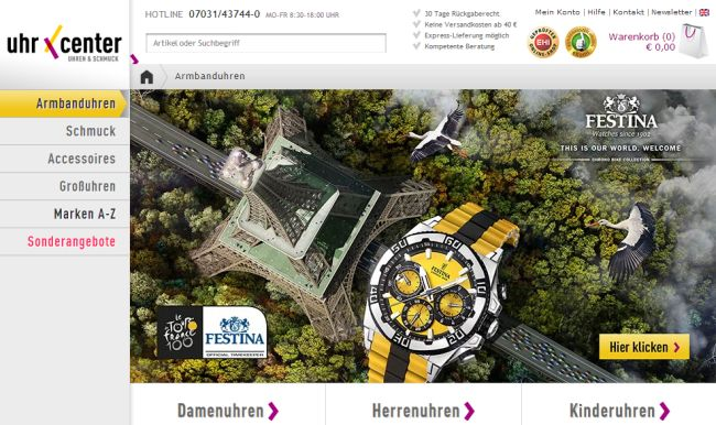 Интернет-магазин Uhrcenter.de