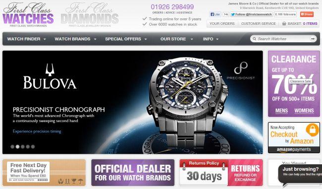 Интернет-магазин Firstclasswatches.co.uk