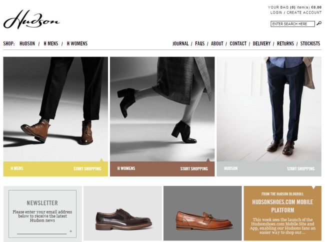 Интернет-магазин Hudsonshoes.com