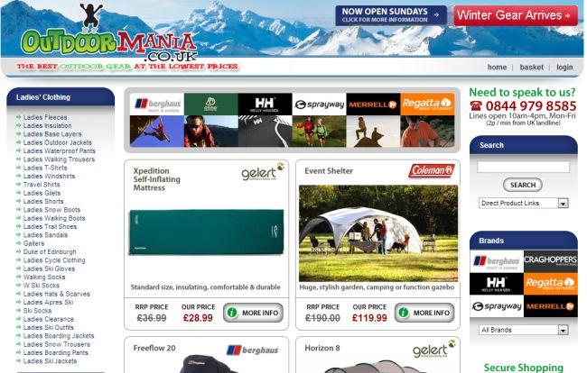 Интернет-магазин Outdoormania.co.uk