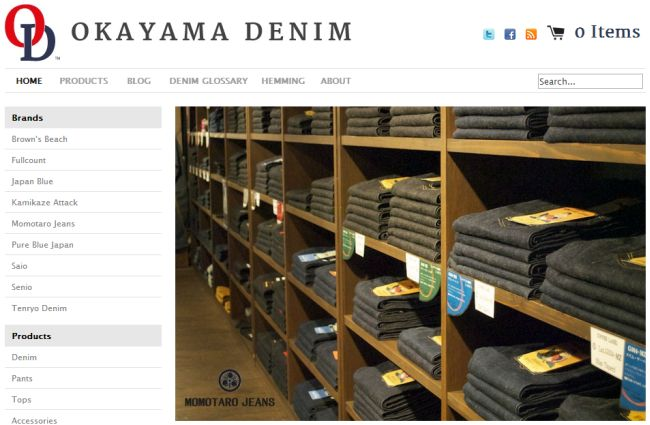 Интернет-магазин Okayamadenim.com