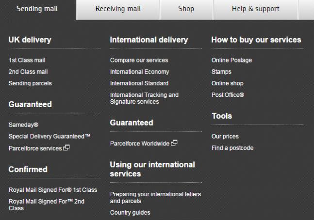 Виды международных отправлений Royal Mail