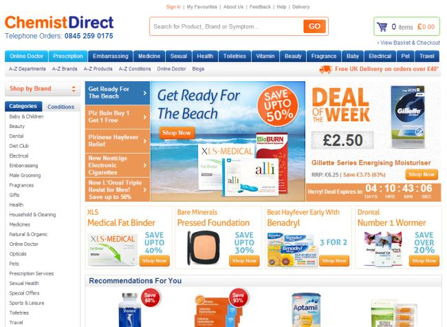 Интернет-магазин Chemistdirect.co.uk