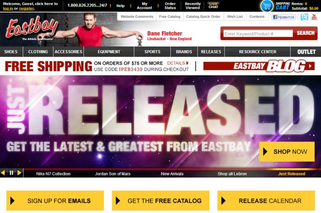 Интернет-магазин Eastbay.com