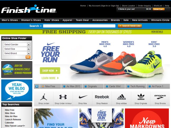 Интернет-магазин Finishline.com