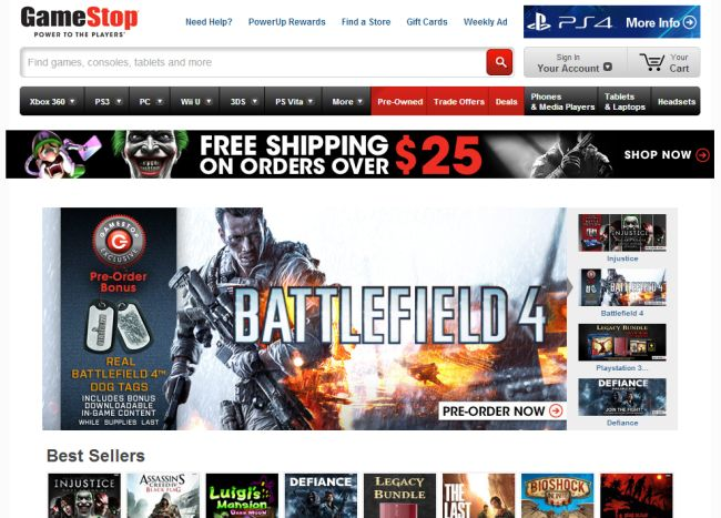 Интернет-магазин Gamestop.com