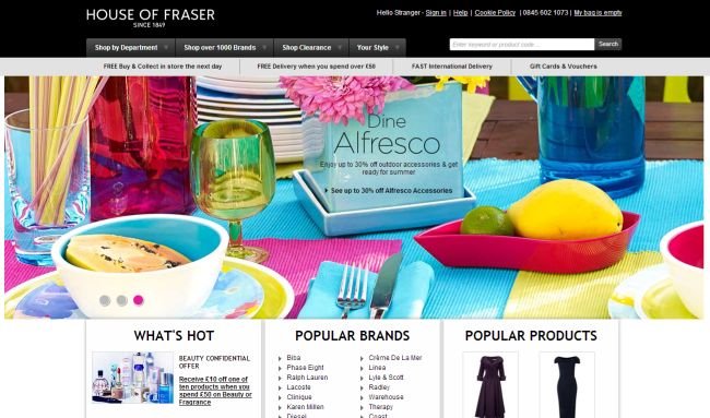 Интернет-магазин Houseoffraser.co.uk