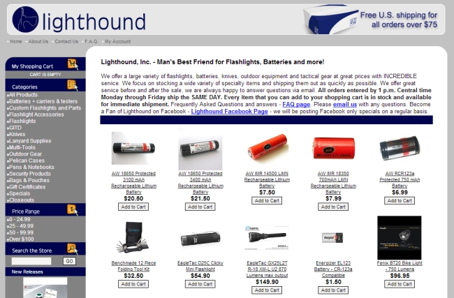 Интернет-магазин Lighthound.com