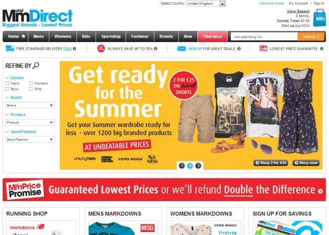 Интернет-магазин Mandmdirect.com