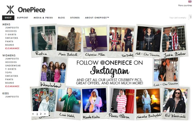 Интернет-магазин Onepiece.co.uk