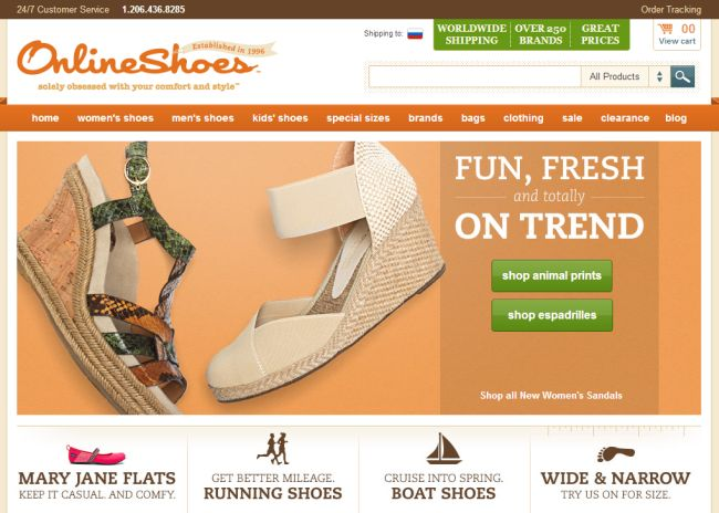Интернет-магазин Onlineshoes.com