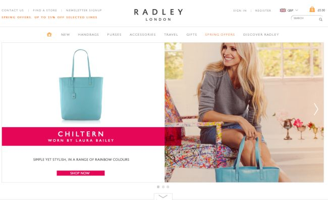 Интернет-магазин Radley.co.uk