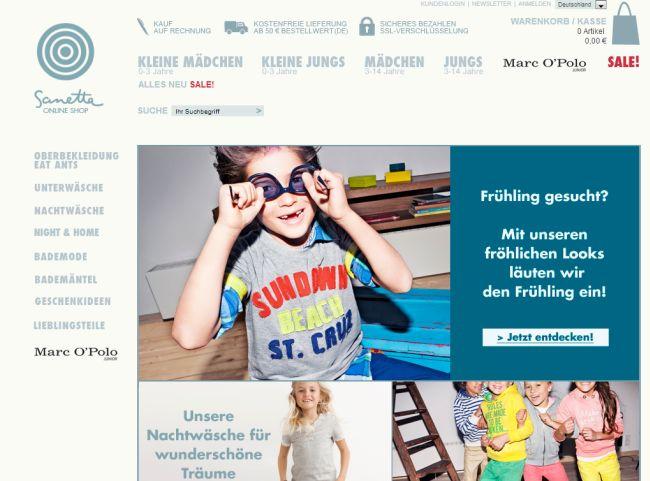 Интернет-магазин Sanetta.de