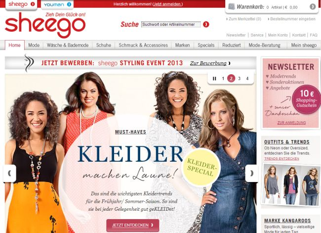 Интернет-магазин Sheego.de