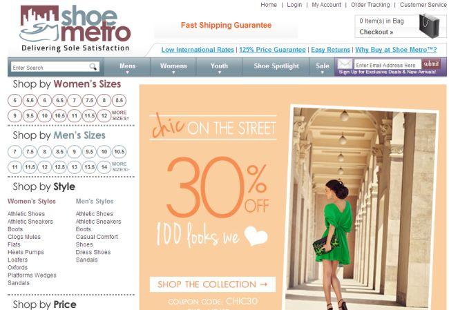 Интернет-магазин Shoemetro.com