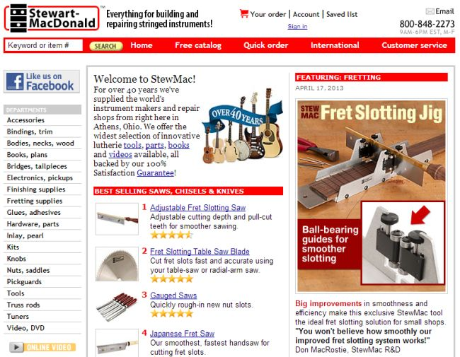 Интернет-магазин Stewmac.com