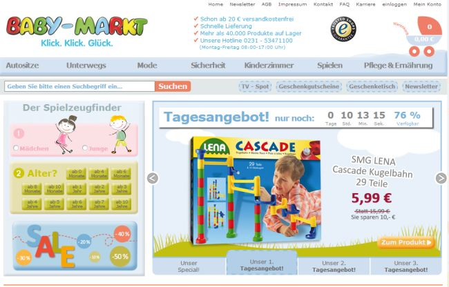 Интернет-магазин Baby-markt.de