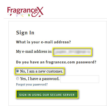 Регистрация на Fragrancex.com