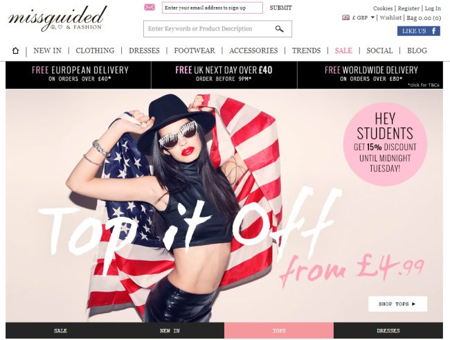 Интернет-магазин Missguided.co.uk