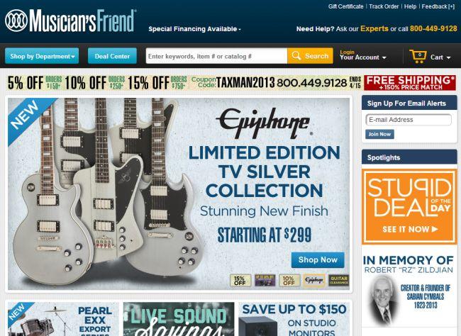 Интернет-магазин Musiciansfriend.com