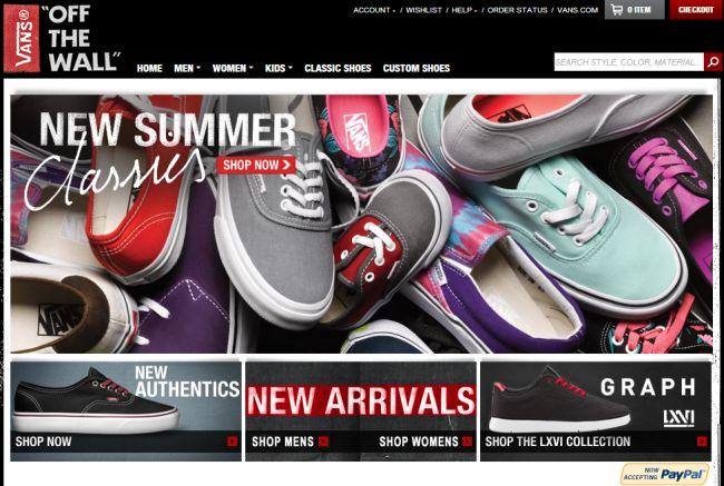 Интернет-магазин shop.vans.com