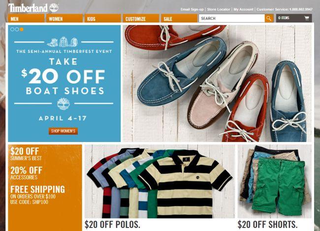 Интернет-магазин Shop.Timberland.com