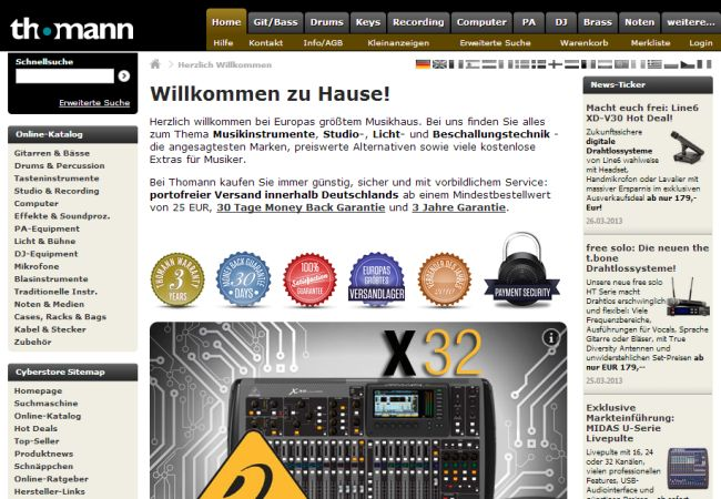 Интернет-магазин Thomann.de