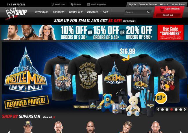 Интернет-магазин Shop.wwe.com