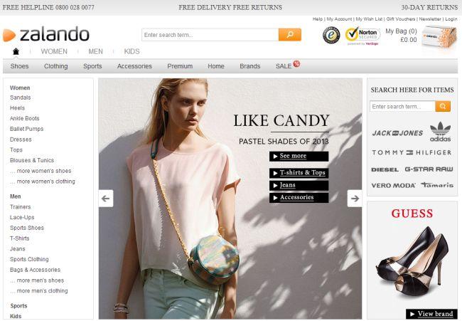 Интернет-магазин Zalando.co.uk
