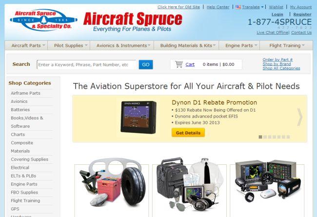 Интернет-магазин Aircraftspruce.com