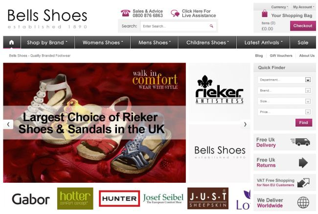Интернет-магазин Bellsshoes.co.uk