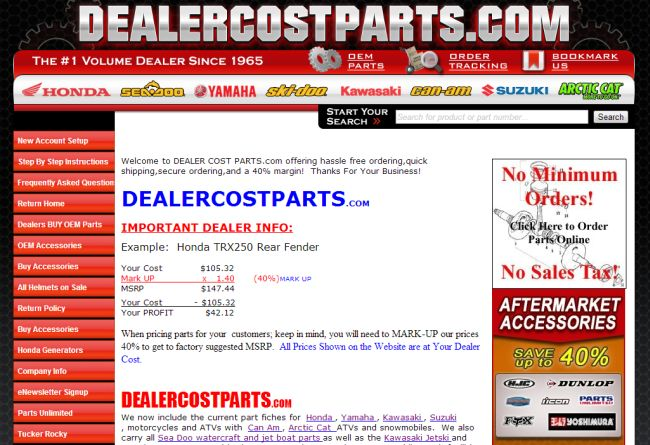 Интернет-магазин Dealercostparts.com
