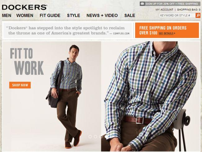 Интернет-магазин Us.Dockers.com