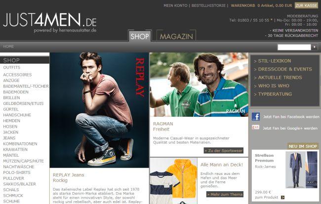 Интернет-магазин Just4men.de