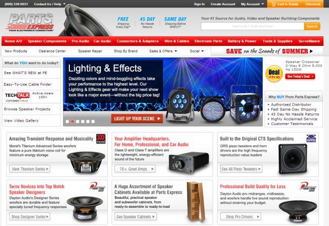 Интернет-магазин Parts-express.com