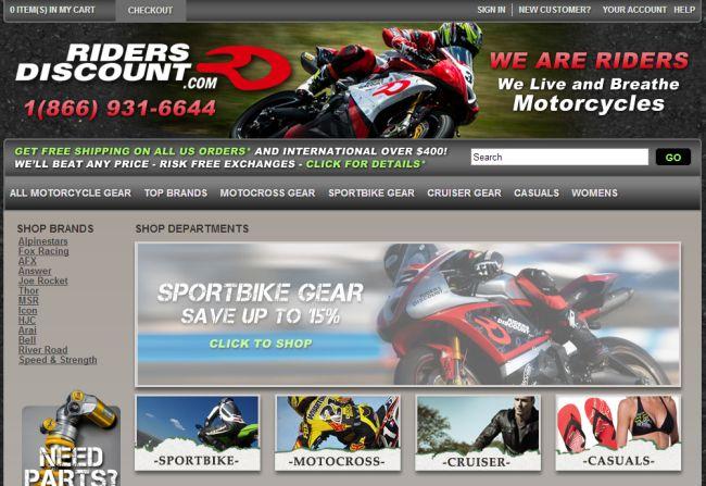 Интернет-магазин Ridersdiscount.com