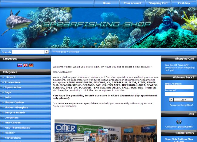 Интернет-магазин Spearfishing.de