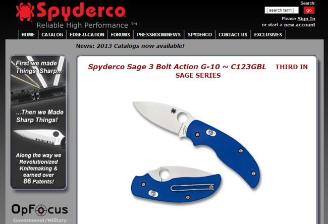 Интернет-магазин Spyderco.com