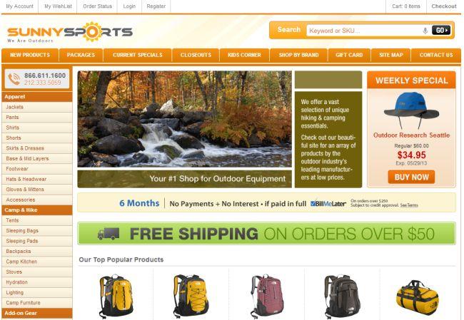 Интернет-магазин Sunnysports.com
