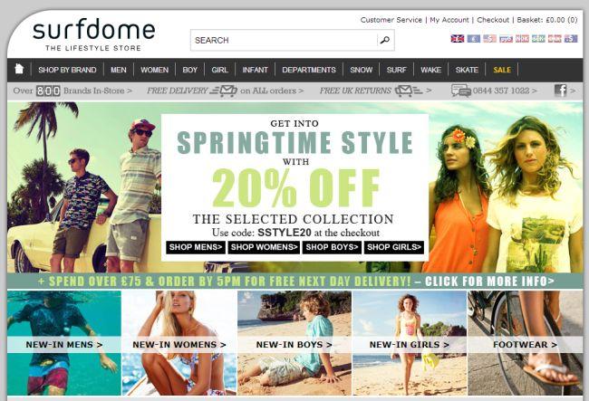 Интернет-магазин Surfdome.com