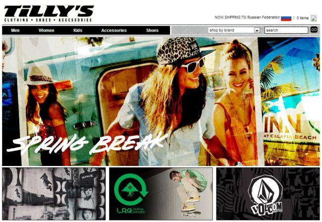 Интернет-магазин Tillys.com
