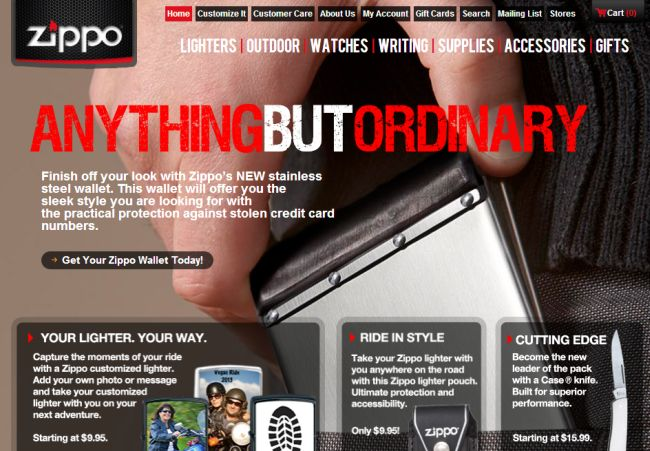 Интернет-магазин Zippo.com