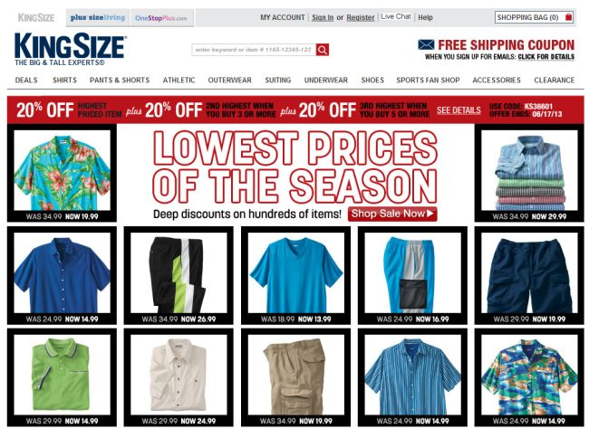 Интернет-магазин Kingsizedirect.com