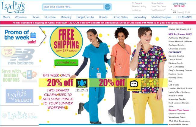 Интернет-магазин Lydiasuniforms.com