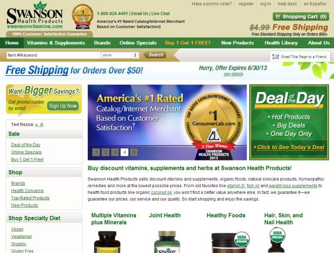 Интернет-магазин Swansonvitamins.com