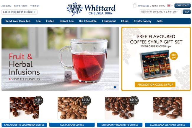 Интернет-магазин Whittard.co.uk