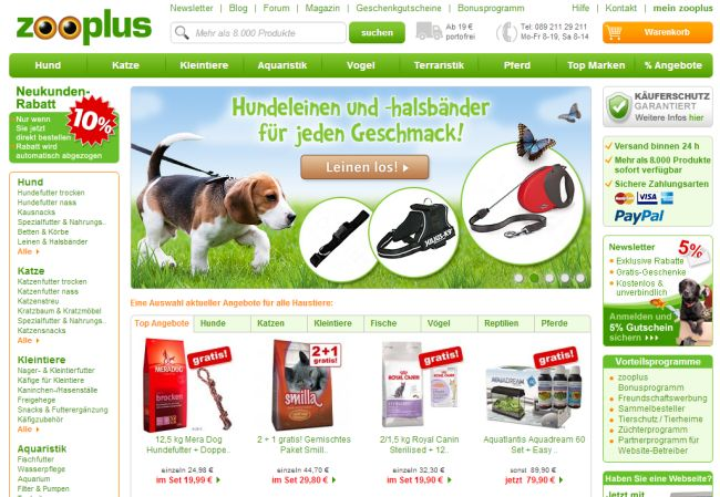 Интернет-магазин Zooplus.de