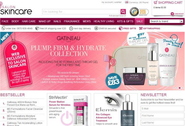 Интернет-магазин Salonskincare.co.uk