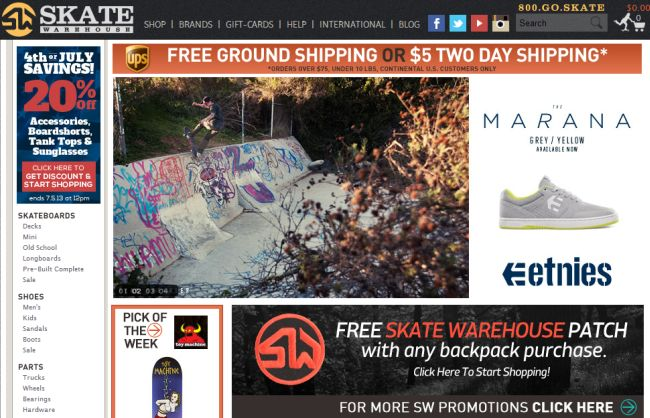 Интернет-магазин Skatewarehouse.com