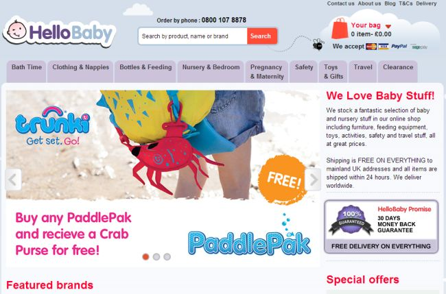 Интернет-магазин HelloBabyDirect.co.uk
